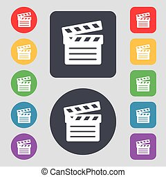 Cinema Clapper icon sign. A set of 12 colored buttons. Flat design. Vector