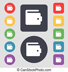 purse icon sign A set of 12 colored buttons Flat design...