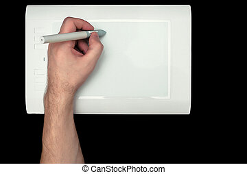 White Pen graphics tablet with the red button