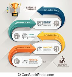 Modern arrow business timeline template. Vector...