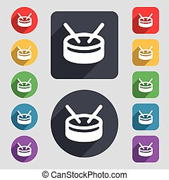 drum icon sign. A set of 12 colored buttons and a long shadow. Flat design. Vector