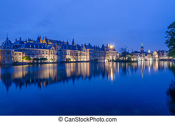 Twilight at Binnenhof palace, place of Parliament in The Hague