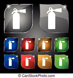 fire extinguisher icon sign. Set of ten colorful buttons with glare. Vector