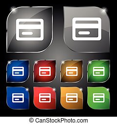 credit card icon sign. Set of ten colorful buttons with glare. Vector