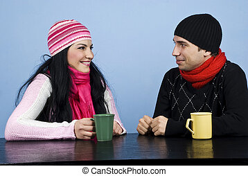 Couple having a funny conversation - Young couple having a...