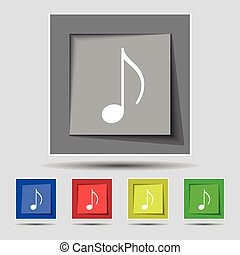 musical note, music, ringtone icon sign on original five...