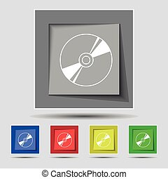 Cd, DVD, compact disk, blue ray icon sign on original five colored buttons. Vector