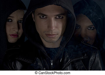 Bad boys with hood in the night - Bad boys concept,street...