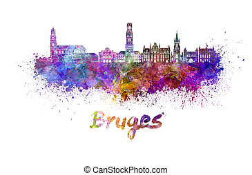 Bruges skyline in watercolor splatters with clipping path
