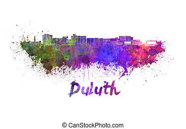 Duluth skyline in watercolor splatters with clipping path