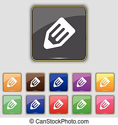 pencil icon sign. Set with eleven colored buttons for your...