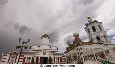 Ancient Christian church Timelapse - Clouds running above...