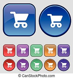 shopping basket icon sign. A set of twelve vintage buttons for your design. Vector