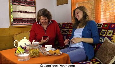granddaughter and grandma - pregnant granddaughter woman...