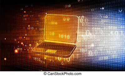 laptop with binary code on tech background