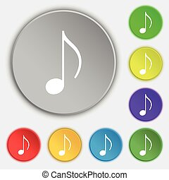 musical note, music, ringtone icon sign Symbol on five flat...