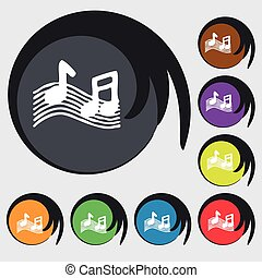 musical note, music, ringtone icon sign. Symbol on eight colored buttons. Vector