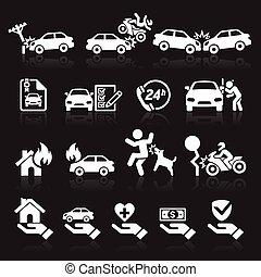 Insurance icons set.