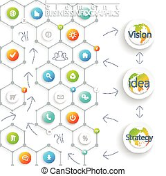 Modern infographic template. Can be used for workflow layout, diagram, chart, number options, web design. Vector illustration