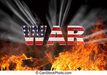 Grunge American flag, war concept with fire flames, close-up...