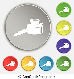 pen and ink icon sign. Symbol on five flat buttons. Vector