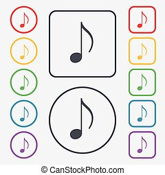 musical note, music, ringtone icon sign. symbol on the Round...