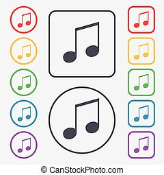 musical note, music, ringtone icon sign symbol on the Round...