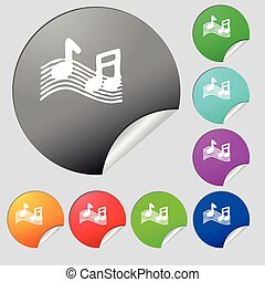 musical note, music, ringtone icon sign Set of eight multi...