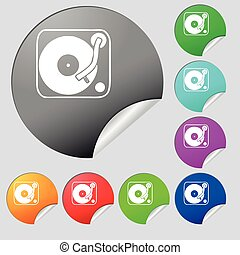 Gramophone, vinyl icon sign Set of eight multi colored round...