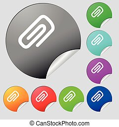clip to paper icon sign. Set of eight multi colored round buttons, stickers. Vector