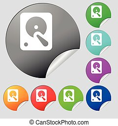 hard disk icon sign Set of eight multi colored round...