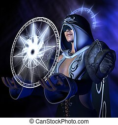 Conjuring wizard - 3D rendered image of conjuring wizard...