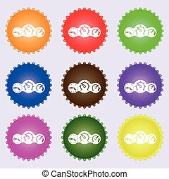 speed, speedometer icon sign. A set of nine different colored labels. Vector