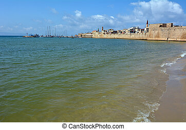 Acre Akko old city port - Israel - Landscape view of Acre...