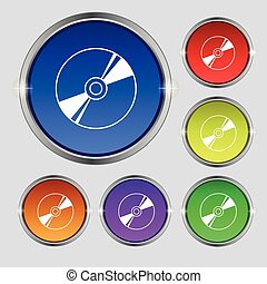Cd, DVD, compact disk, blue ray icon sign. Round symbol on bright colourful buttons. Vector