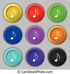 musical note, music, ringtone icon sign symbol on nine round...