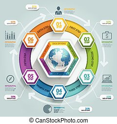 3d hexagon arrow timeline infographics. Vector illustration....