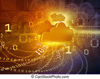 Cloud computing concept yellow background