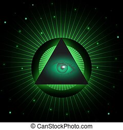 Masonic eye background - Eye of Providence and pyramid. All...