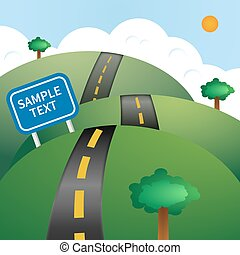 Road vector illustration - Vector Illustration with highway,...