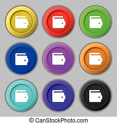 purse icon sign symbol on nine round colourful buttons...