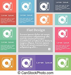 Gramophone, vinyl icon sign. Set of multicolored buttons...