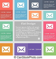 Mail, envelope, letter icon sign. Set of multicolored buttons with space for text. Vector