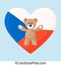 Czech Teddy Bears - Teddy Bears with heart with flag of...