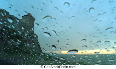 Belgorod Fortress in the Rain - Raindrops Running Down the...