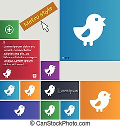 chicken, Bird icon sign. buttons. Modern interface website...
