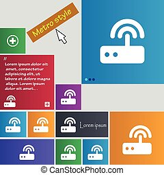Wi fi router icon sign buttons Modern interface website...