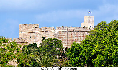 Acre Akko old city port - Israel - Acre Tower in Acre Akko...