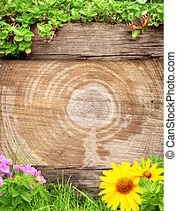Summer background with old wooden plank, grass and green...