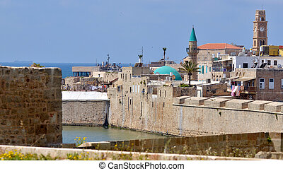Acre Akko old city port - Israel - Cityscape of Acre Akko...